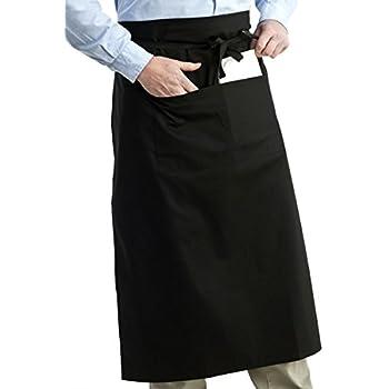 ROSENICE Bistrosch/ürze Kurze Kellnersch/ürze mit Taschen Unisex Taille Sch/ürze Schwarz