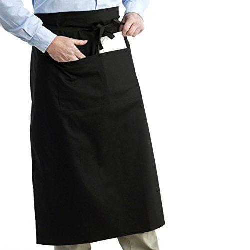 Doppel-schürze (Tinksky Taille Schürze Unisex Frauen Männer Küche kochen kurze Schürze Kellner Schürze mit Doppel Taschen (schwarz))