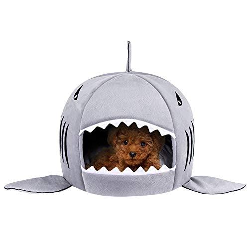 FONGFONG 2 in 1 Weich Warmes Haustier Höhle Bett Form des Hais mit Entfernbar Kissen Katzenhöhle Nest Hundehöhle Haus Kuschelhöhle für Kleine Mittlere Hunde Katzen L Grau