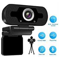 1080P HD Webcam with Microphone, USB Desktop Laptop Camera Built-in Dual Noise Stereo Audio Webcam or Video Conferencing and Recording, Streaming Web Camera for Home Office (Black)