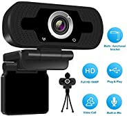 1080P HD Webcam with Microphone, USB Desktop Laptop Camera Built-in Dual Noise Stereo Audio Webcam or Video Co