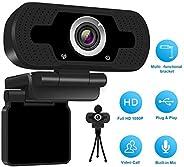 كاميرا ويب عالية الدقة 1080 بكسل مع ميكروفون، USB سطح المكتب وكاميرا مدمجة ستيريو ذات ضوضاء مزدوجة أو كاميرا ف
