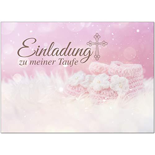 15 x Einladung zur Taufe/Einladungskarten mit Umschlag im Set/Einladung zu meiner Taufe Baby Rosa/Baby Taufkarte/Grußkarte/Postkarte /