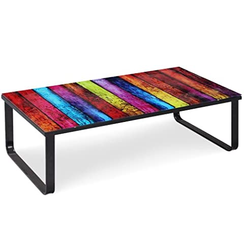 Table Basse Metal - Menzzo CT102 Contemporain Rainbow Table Basse Métal/Verre