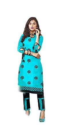 3aa08b3cb5c Shree Ganesh Retail Women s Cotton Embroidered Chanderi Churidar Salwar  Kameez Un-stitched Dress Material (