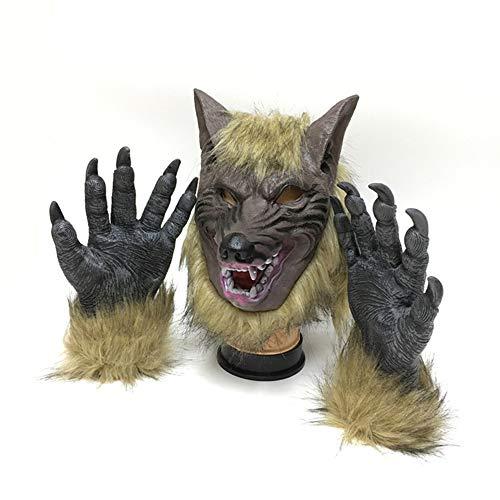 NINI Wolf Maske Halloween Dekorieren Theme Party Kleid Anzug Kopfbedeckung + Handschuhe Erwachsene und Kinder