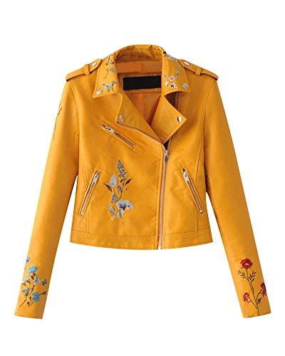 *Faux Leder Damen Motorrad Jacke Zip Up Reißverschluss Oberbekleidung Kunstlederjacke Bikerjacke Blazer Gelb L*