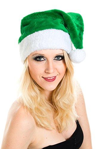achtsmützen Mütze Nikolausmütze Weihnachtsmütze Santa Plüsch Grün Flauschig (Flauschige Nikolausmütze)