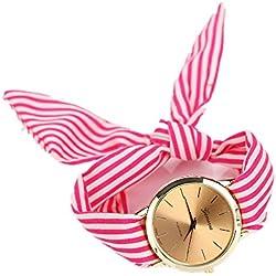 Reloj Lindo Con Lazo A Rayas,ZARLLE Reloj Del Reloj De Pulsera De Dial De Cuarzo De Tela Floral De Rayas De Mujeres De Moda (talla única, Rosado)