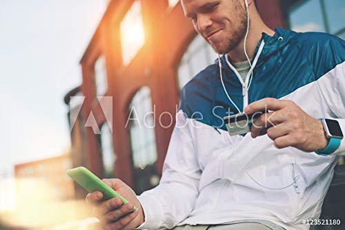 druck-shop24 Wunschmotiv: Man Sitting Outdoors with Credit Card and Mobile Phone, Internet Banking and online Shopping, Lens Flares #123521180 - Bild auf Leinwand - 3:2-60 x 40 cm / 40 x 60 cm