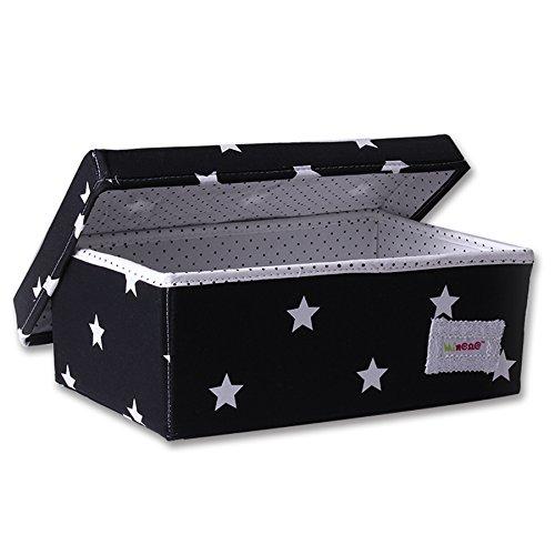 Minene Aufbewahrungsbox (klein, schwarz mit weißem Stern)