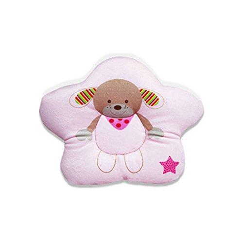 Kenmont mignonne bébé Oreiller de maintien de la tête animal Coussin de maintien anti-tête plate Oreillers memoire oreiller de sommeil (28x24cm, Rose)