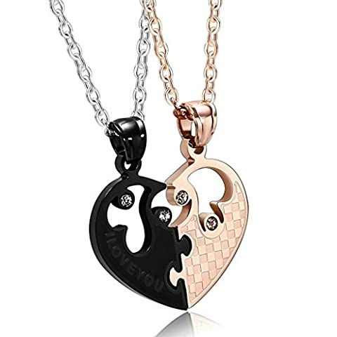 Aooaz Stainless Steel Pendant Necklace for Couple CZ Hollow Heart