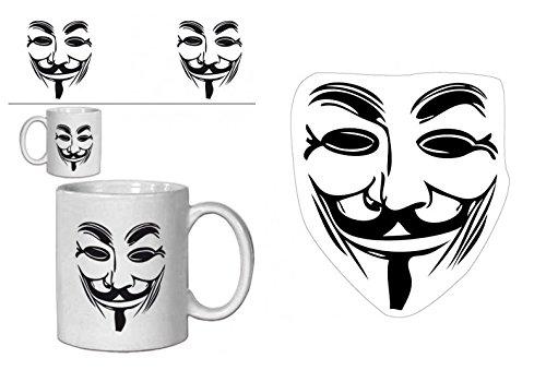 Set: V Wie Vendetta, Guy Fawkes Maske Foto-Tasse Kaffeetasse (9x8 cm) Inklusive 1 V Wie Vendetta Poster-Sticker Tattoo Aufkleber (9x9 cm)