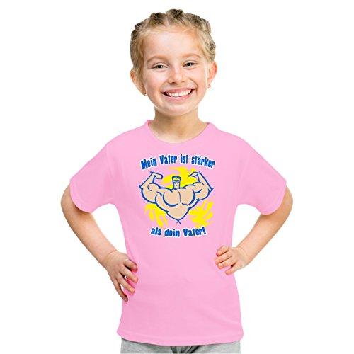 Kinder T-Shirt Mein Vater ist stärker als dein Vater Rosa