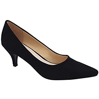 Greatonu Spitz Pumps Nubukleder Kitten Absatz Pointed Toe Schwarz EU39