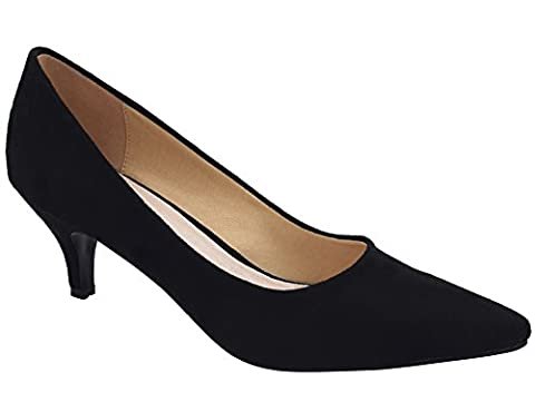 Greatonu Womens Katy Pointed Sexy Kitten Mid Low Heel Black Dressy Pump Court Shoes Size 6 UK / 39
