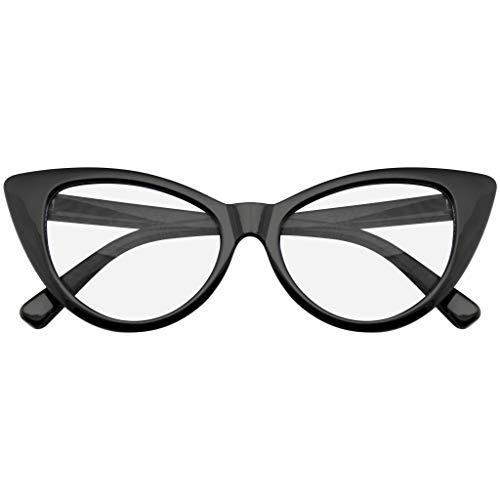 Emblem Eyewear Super Cat Eye Brille Vintage-Mode Mod Clear Lens Brillen (Schwarz)