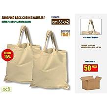 0fe7e067b6 OFFERTA SCONTO 15% per scatola da 50 pezzi | Borse Shopper in Tessuto di  Cotone
