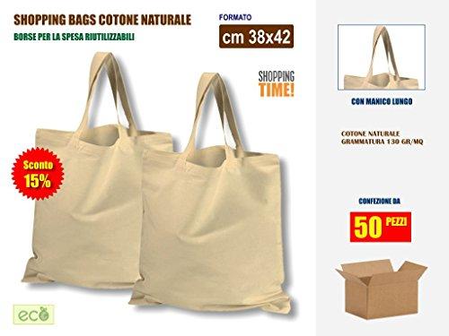 Offerta sconto 15% per scatola da 50 pezzi | borse shopper in tessuto di cotone cm 38x42, manico lungo