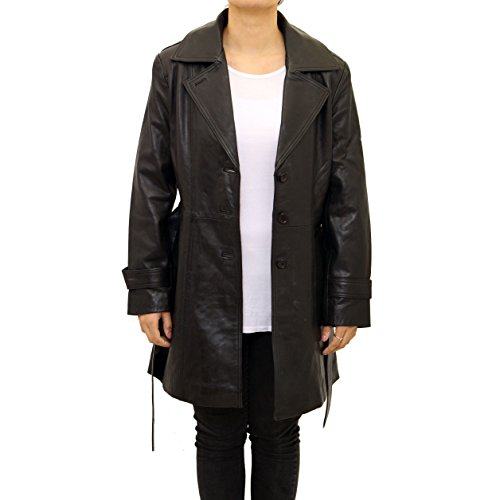 A to Z Leather Ladies Women Black Real Leather Classic 3/4 Trench Long Coat With Belt Tie and Back Vent