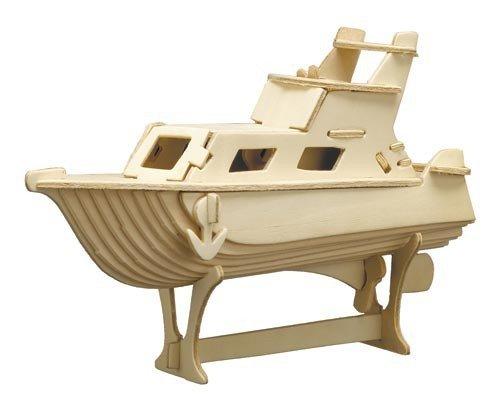 matches21 3D Yacht Holz Bausatz 22x16 cm Kinder Holzbausatz Bastelset Werkset - Steckbausatz & Bemalen - ab 10 Jahren