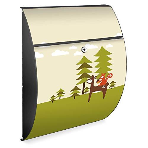 Burg Wächter Design Briefkasten | Modell Riviera 46cmx33,5cmx13cm groß | verzinkter Stahl Anthrazit | Postkasten mit Öffnungsstopp, großer A4 Einwurf, Zylinderschloss, 2 Schlüssel | Motiv Heimweg