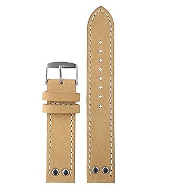 20mm 22mm color beige de lujo relojes de calidad superior de ante de los hombres correa de cuero de reemplazo cuero nobuck con remaches con costura blanca en contraste
