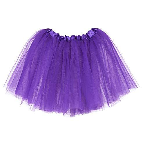 (Ksnrang Mädchen Tütü Rock Minirock 3 Lagen Petticoat Tanzkleid Dehnbaren Mini Skater Tutu Rock Erwachsene Ballettrock Tüllrock für Party Halloween Kostüme Tanzen (Lila, 2-8 Jahre))