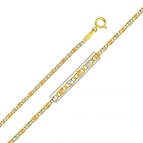 14KT Solid Yellow Italian Gold Figaro Chain Necklace 1.5mm 16