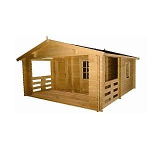 Abri de jardin en bois brut 4,3 x 5 m avec Cloison et Terrasse