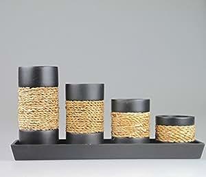 kerzenhalter set f r teelichter schwarz. Black Bedroom Furniture Sets. Home Design Ideas