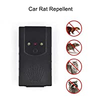 QAZ Car Under Hood Animal Pest Repeller Vehicle Rodent Repellent Ultrasonic Rat Deterrent Automobile With LED Flashlights,Black