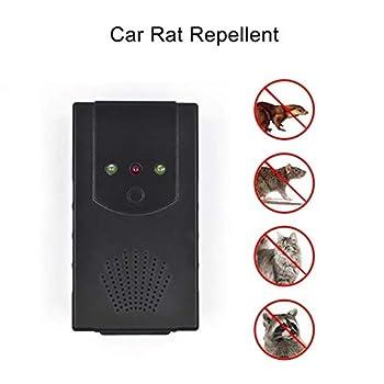 QAZ Voiture sous Le Capot Animal antiparasitaire Repeller Vehicle Rongeur Répulsif Ultrasonique De Rat Rat Automobile avec LED Lampes de Poche,Black