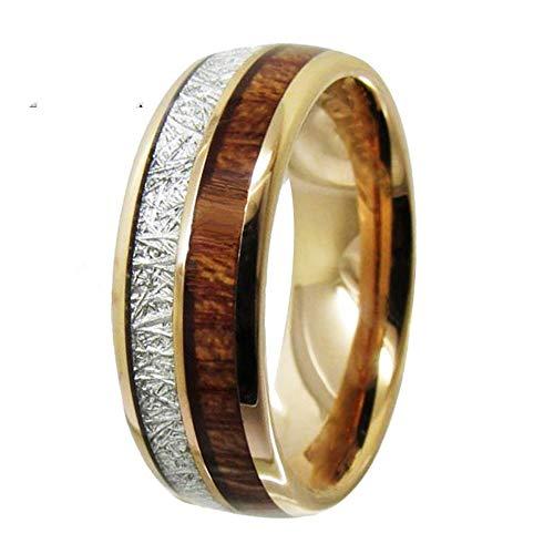 SSLL Ring damen Roségold-Wolfram-Ring Für Herren Und Damen Ocker-Holz-Inlay-Verlobungsring, 10
