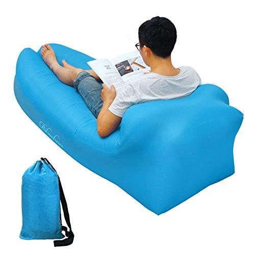 Aufblasbare Liege, Air Sofa, Fast Inflate von Wind oder Air Pump, Wasserdichte Air Bag Stuhl Sofa, ideal für Reisen, Camping, Wandern, Pool und Beach Parties, Lazy Hangout Couch Bed (blue-pillow, 1-pack)