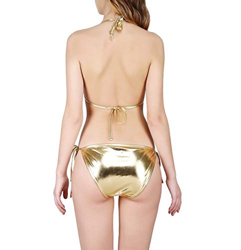 MPitude Women's Faux Leather Metallic Bikini Bra Panty Set (Gold,Free Size)