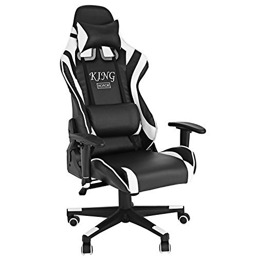 Sports Racing Gaming High Back Office Chair Ergonomic PU Leather & Fabric Swivel Recliner Executive Chair with Armrests[UK Stock]