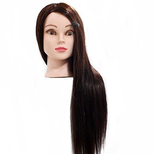 Neverland 22'' Têtes d'exercice avec Maquillage 50% Cheveux Naturels pour le Salon Coiffeur Poupée avec Support