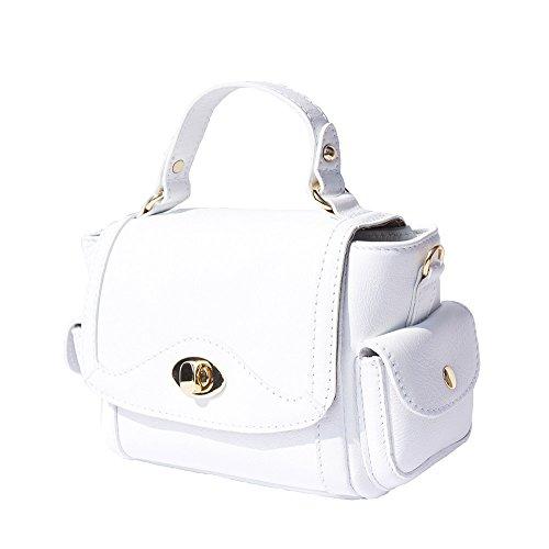borsetta a mano con tasche laterali 6142 Bianco