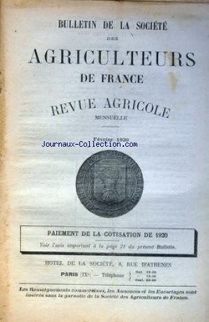 BULLETIN DE LA SOCIETE DES AGRICULTEURS DE FRANCE du 01/02/1920