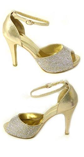 Femme de mariage Diamante Prom Basse Mid talon haut mariage Cour Chaussures Taille - Gold (567-208)