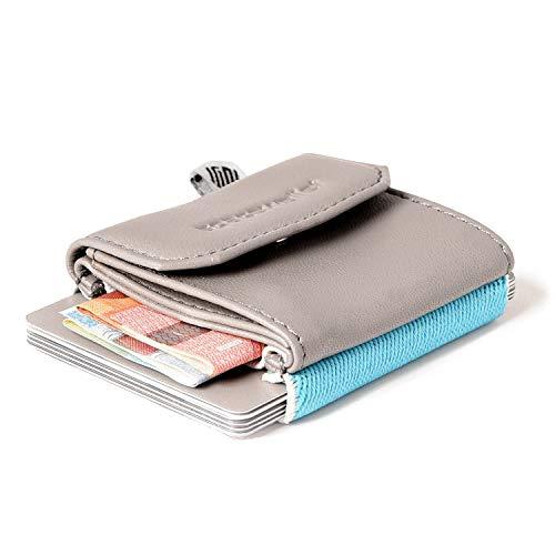2b76c0a2521d15 Space Wallet Push Mini Geldbeutel aus Leder - Bis zu 15 Kreditkarten/EC- Karten
