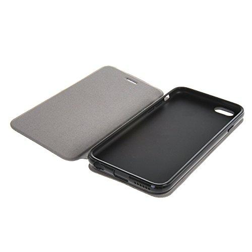 MOONCASE Étui pour iPhone 6 / 6S (4.7 inch) Premium PU Portefeuille Cuir Coque en Housse de Protection Case à rabat Rouge Noir #1104