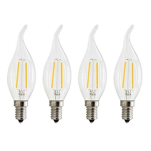 Lot de 4, 2W LED E14Filament ampoule bougie lumière, 20W équivalent, Blanc chaud 2700K, pendentif pour lustre et utilisation