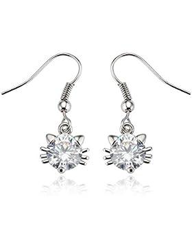 Modische Ohrringe Ohrhänger Katze Swarovski Elements Kristall 18k vergoldet Silber Glänzend Glitzer Für Frauen...