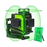 Huepar GF360G 3 x 360 Livella Laser a Croce, Linea Laser Verde Autolivellante con Modalità Impulso Esterno, Campo di Lavoro 25m, Porta di ricarica USB, Batteria al litio e Base magnetica Inclusa