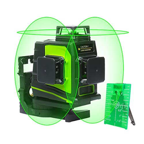 Huepar GF360G 3D Nivel Láser Verde Autonivelador 3x360 Línea Cruzada 45m Nivelación y Alineación en Tres Planos - Dos Líneas Verticales 360° y Una Línea Horizontal 360° - Base Giratoria Magnética