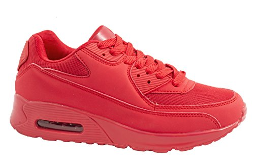 Sport Femmes et Hommes Chaussures rangers Chaussures de course profil semelle Baskets Rouge (2)