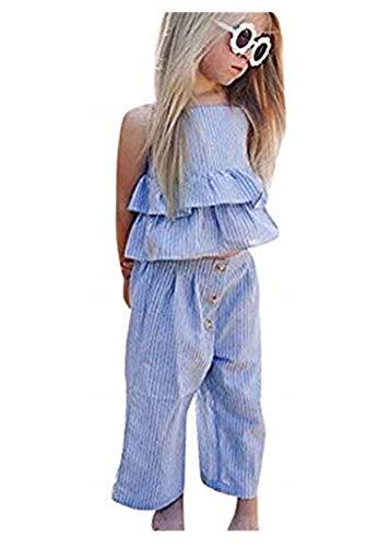 ts,Kleinkind Kinder Baby Mädchen Gestreifte Rüschen Tops T Shirt + Hosen + Stirnband Outfits Sets,Sommer Outfit Set Weste T-Shirt Tops Hemd Kleidung Pullover ()